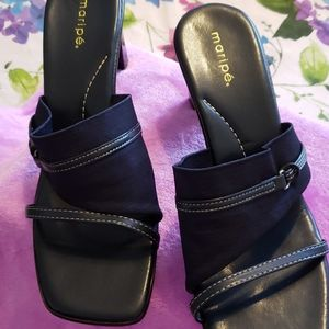 Dark Navy Blue Maripe Sandals/ 9 / Never Worn